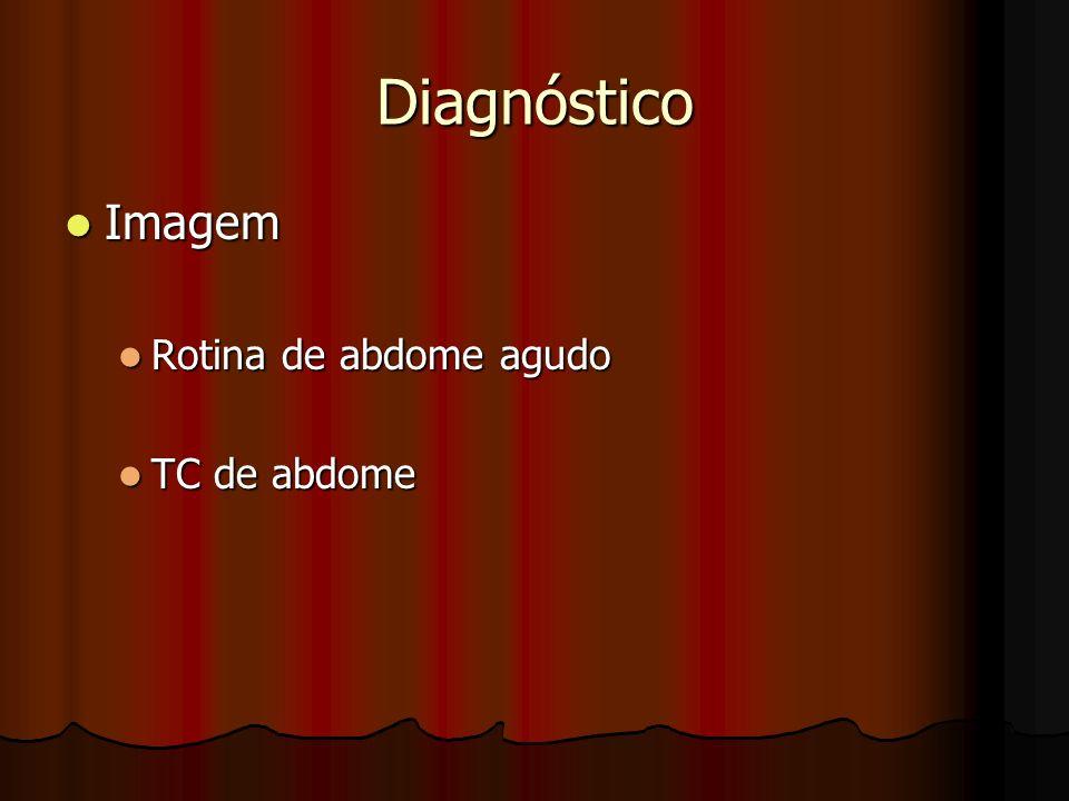Diagnóstico Imagem Imagem Rotina de abdome agudo Rotina de abdome agudo TC de abdome TC de abdome