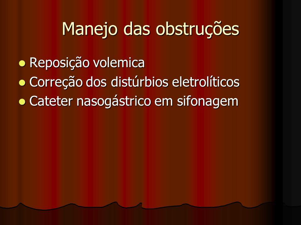 Manejo das obstruções Reposição volemica Reposição volemica Correção dos distúrbios eletrolíticos Correção dos distúrbios eletrolíticos Cateter nasogá