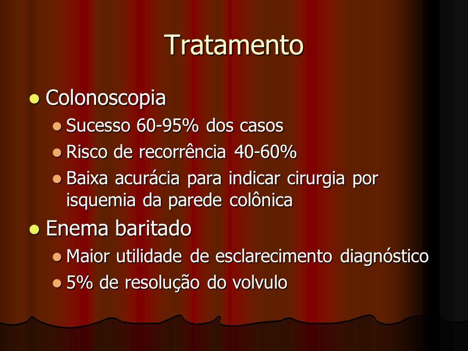 Tratamento Colonoscopia Colonoscopia Sucesso 60-95% dos casos Sucesso 60-95% dos casos Risco de recorrência 40-60% Risco de recorrência 40-60% Baixa a