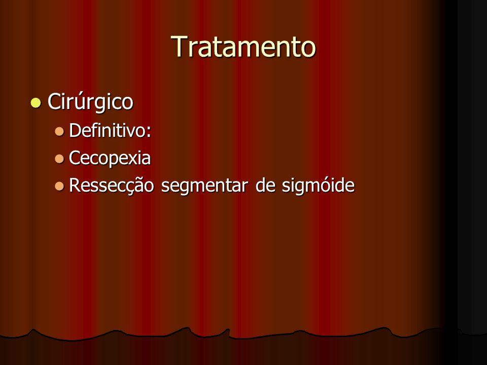 Tratamento Cirúrgico Cirúrgico Definitivo: Definitivo: Cecopexia Cecopexia Ressecção segmentar de sigmóide Ressecção segmentar de sigmóide