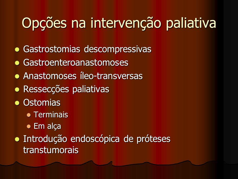 Opções na intervenção paliativa Gastrostomias descompressivas Gastrostomias descompressivas Gastroenteroanastomoses Gastroenteroanastomoses Anastomose
