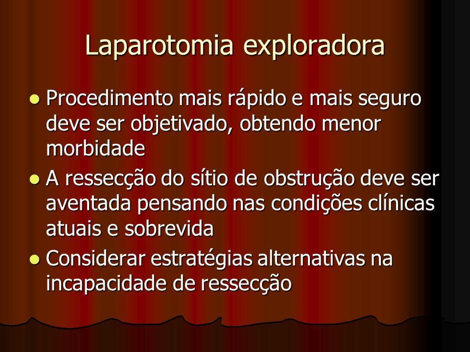 Laparotomia exploradora Procedimento mais rápido e mais seguro deve ser objetivado, obtendo menor morbidade Procedimento mais rápido e mais seguro dev