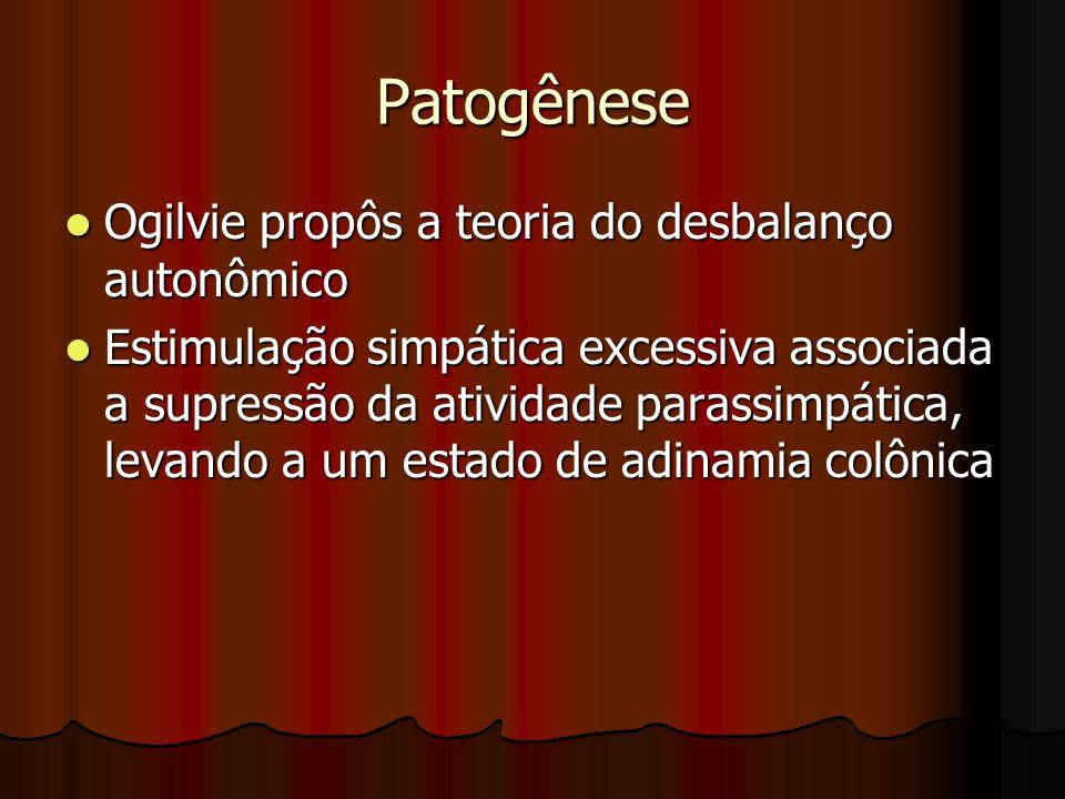 Patogênese Ogilvie propôs a teoria do desbalanço autonômico Ogilvie propôs a teoria do desbalanço autonômico Estimulação simpática excessiva associada
