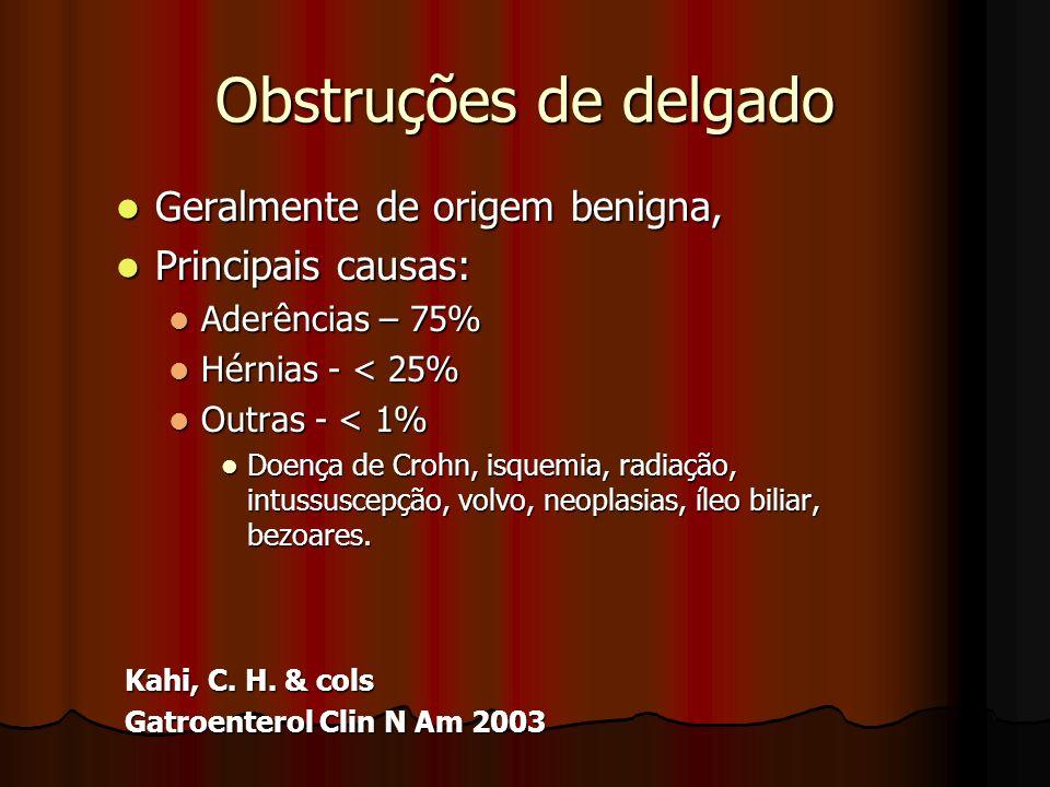 Obstruções de delgado Geralmente de origem benigna, Geralmente de origem benigna, Principais causas: Principais causas: Aderências – 75% Aderências –