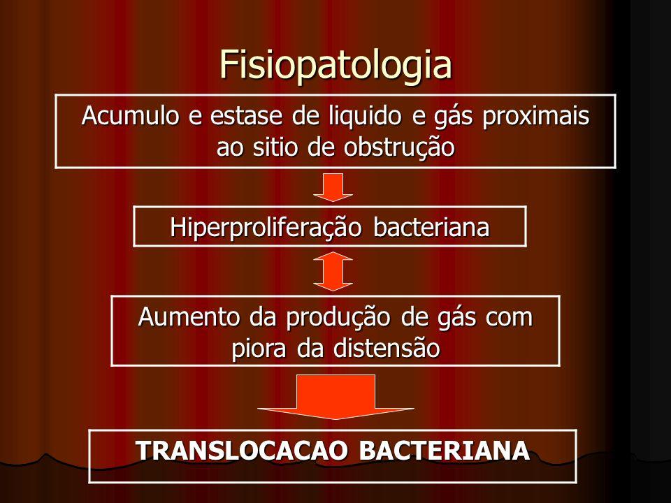 Fisiopatologia Acumulo e estase de liquido e gás proximais ao sitio de obstrução Hiperproliferação bacteriana Aumento da produção de gás com piora da