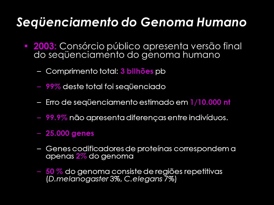 Seqüenciamento do Genoma Humano Embate: Consórcio público x Celera genomics: – Consórcio público: mapeamento físico, shotgun hieráriquico. – Celera ge
