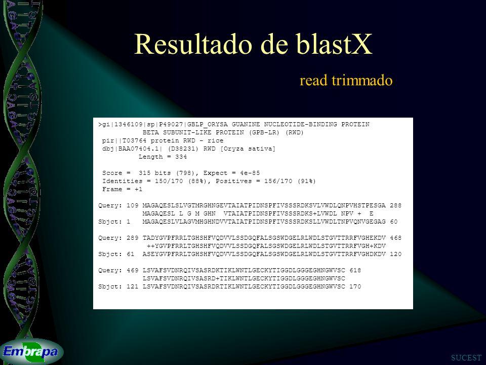 SUCEST Resultado de blastX >gi|1346109|sp|P49027|GBLP_ORYSA GUANINE NUCLEOTIDE-BINDING PROTEIN BETA SUBUNIT-LIKE PROTEIN (GPB-LR) (RWD) pir||T03764 protein RWD - rice dbj|BAA07404.1| (D38231) RWD [Oryza sativa] Length = 334 Score = 315 bits (798), Expect = 4e-85 Identities = 150/170 (88%), Positives = 156/170 (91%) Frame = +1 Query: 109 MAGAQESLSLVGTMRGHNGEVTAIATPIDNSPFIVSSSRDKSVLVWDLQNPVHSTPESGA 288 MAGAQESL L G M GHN VTAIATPIDNSPFIVSSSRDKS+LVWDL NPV + E Sbjct: 1 MAGAQESLVLAGVMHGHNDVVTAIATPIDNSPFIVSSSRDKSLLVWDLTNPVQNVGEGAG 60 Query: 289 TADYGVPFRRLTGHSHFVQDVVLSSDGQFALSGSWDGELRLWDLSTGVTTRRFVGHEKDV 468 ++YGVPFRRLTGHSHFVQDVVLSSDGQFALSGSWDGELRLWDLSTGVTTRRFVGH+KDV Sbjct: 61 ASEYGVPFRRLTGHSHFVQDVVLSSDGQFALSGSWDGELRLWDLSTGVTTRRFVGHDKDV 120 Query: 469 LSVAFSVDNRQIVSASRDKTIKLWNTLGECKYTIGGDLGGGEGHNGWVSC 618 LSVAFSVDNRQIVSASRD+TIKLWNTLGECKYTIGGDLGGGEGHNGWVSC Sbjct: 121 LSVAFSVDNRQIVSASRDRTIKLWNTLGECKYTIGGDLGGGEGHNGWVSC 170 read trimmado