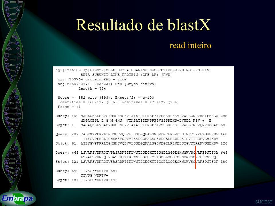 SUCEST Resultado de blastX >gi|1346109|sp|P49027|GBLP_ORYSA GUANINE NUCLEOTIDE-BINDING PROTEIN BETA SUBUNIT-LIKE PROTEIN (GPB-LR) (RWD) pir||T03764 protein RWD - rice dbj|BAA07404.1| (D38231) RWD [Oryza sativa] Length = 334 Score = 352 bits (893), Expect(2) = e-100 Identities = 168/192 (87%), Positives = 175/192 (90%) Frame = +1 Query: 109 MAGAQESLSLVGTMRGHNGEVTAIATPIDNSPFIVSSSRDKSVLVWDLQNPVHSTPESGA 288 MAGAQESL L G M GHN VTAIATPIDNSPFIVSSSRDKS+LVWDL NPV + E Sbjct: 1 MAGAQESLVLAGVMHGHNDVVTAIATPIDNSPFIVSSSRDKSLLVWDLTNPVQNVGEGAG 60 Query: 289 TADYGVPFRRLTGHSHFVQDVVLSSDGQFALSGSWDGELRLWDLSTGVTTRRFVGHEKDV 468 ++YGVPFRRLTGHSHFVQDVVLSSDGQFALSGSWDGELRLWDLSTGVTTRRFVGH+KDV Sbjct: 61 ASEYGVPFRRLTGHSHFVQDVVLSSDGQFALSGSWDGELRLWDLSTGVTTRRFVGHDKDV 120 Query: 469 LSVAFSVDNRQIVSASRDKTIKLWNTLGECKYTIGGDLGGGEGHNGWVSCVRFFPNTFQA 648 LSVAFSVDNRQIVSASRD+TIKLWNTLGECKYTIGGDLGGGEGHNGWVSCVRF PNTFQ Sbjct: 121 LSVAFSVDNRQIVSASRDRTIKLWNTLGECKYTIGGDLGGGEGHNGWVSCVRFSPNTFQP 180 Query: 649 TIVSGFWDRTVR 684 TIVSG WDRTV+ Sbjct: 181 TIVSGSWDRTVK 192 read inteiro