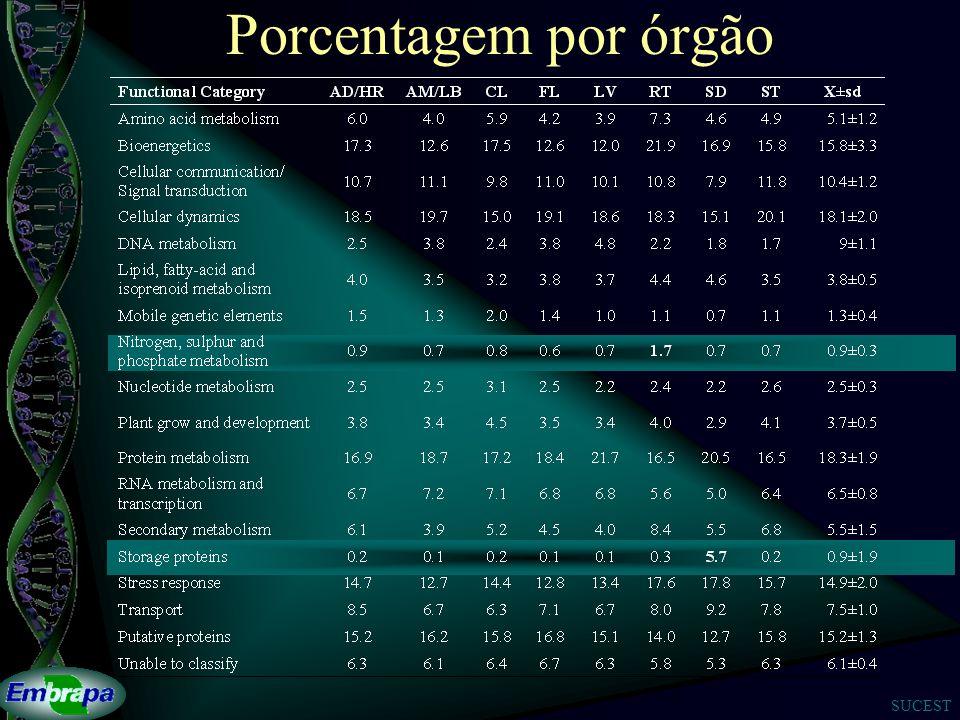 SUCEST Porcentagem por órgão