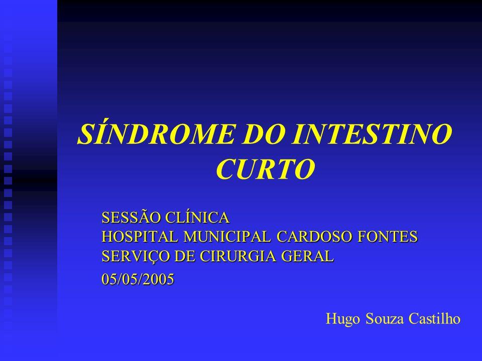SÍNDROME DO INTESTINO CURTO SESSÃO CLÍNICA HOSPITAL MUNICIPAL CARDOSO FONTES SERVIÇO DE CIRURGIA GERAL 05/05/2005 Hugo Souza Castilho