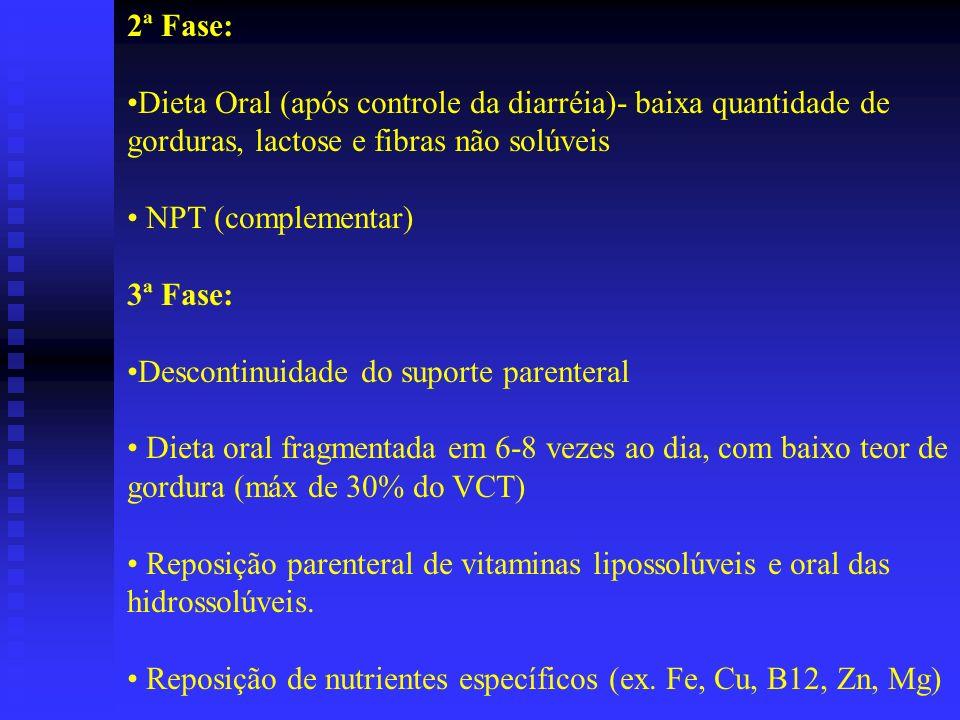 2ª Fase: Dieta Oral (após controle da diarréia)- baixa quantidade de gorduras, lactose e fibras não solúveis NPT (complementar) 3ª Fase: Descontinuida