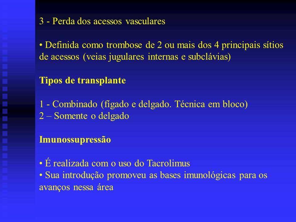 3 - Perda dos acessos vasculares Definida como trombose de 2 ou mais dos 4 principais sítios de acessos (veias jugulares internas e subclávias) Tipos