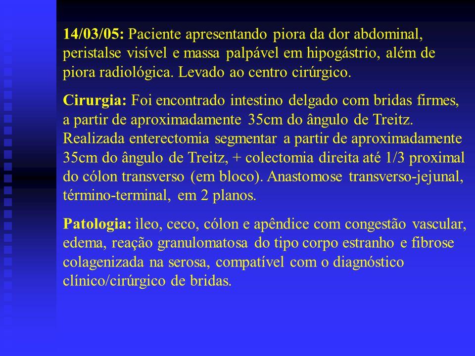 14/03/05: Paciente apresentando piora da dor abdominal, peristalse visível e massa palpável em hipogástrio, além de piora radiológica. Levado ao centr