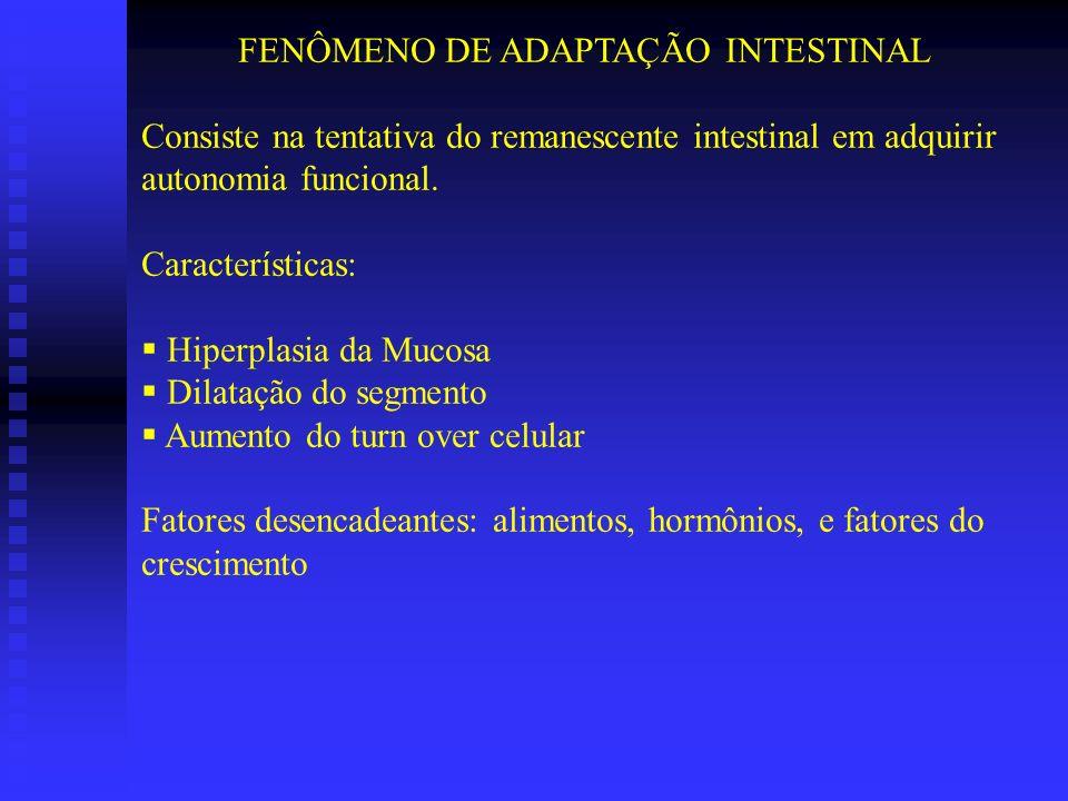FENÔMENO DE ADAPTAÇÃO INTESTINAL Consiste na tentativa do remanescente intestinal em adquirir autonomia funcional. Características: Hiperplasia da Muc