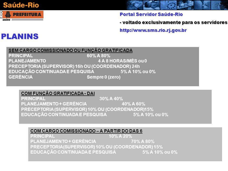 Portal Servidor Saúde-Rio - voltado exclusivamente para os servidores http://www.sms.rio.rj.gov.br COM CARGO COMISSIONADO – A PARTIR DO DAS 6 PRINCIPA