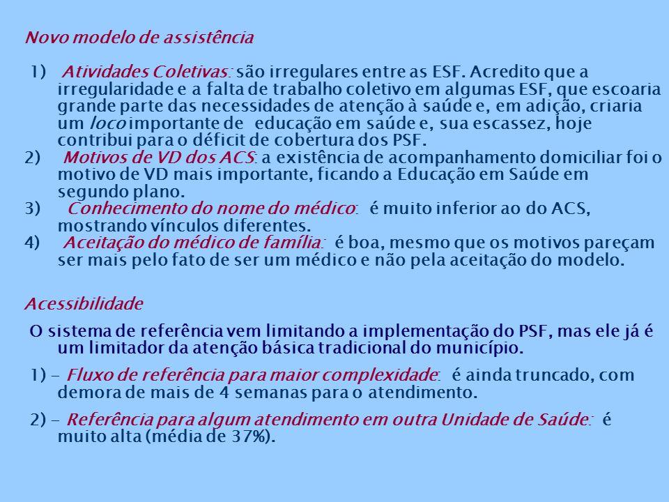 2)Marcadores e Indicadores do SIAB São geralmente piores nas comunidades estudadas do que no Município do Rio de Janeiro: o coeficiente estimado de natalidade foi superior à média municipal; a proporção de recém nascidos de baixo peso, em quase todas as comunidades, foi maior que a média municipal; a proporção de gestantes menores de 20 anos foi bem maior que a média municipal; e a proporção de cadastros dos hipertensos e diabéticos da população adscrita é bem menor do que as metas dos Programas de Prevenção e Controle da Hipertensão Arterial e Diabetes da SMS (apesar de poder ser atribuído ao fato dessas comunidades serem jovens, com a pirâmide populacional de base alargada).