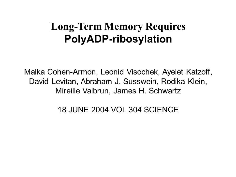 Long-Term Memory Requires PolyADP-ribosylation Malka Cohen-Armon, Leonid Visochek, Ayelet Katzoff, David Levitan, Abraham J. Susswein, Rodika Klein, M