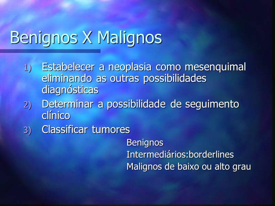 Benignos X Malignos 1) Estabelecer a neoplasia como mesenquimal eliminando as outras possibilidades diagnósticas 2) Determinar a possibilidade de seguimento clínico 3) Classificar tumores Benignos Benignos Intermediários:borderlines Intermediários:borderlines Malignos de baixo ou alto grau Malignos de baixo ou alto grau