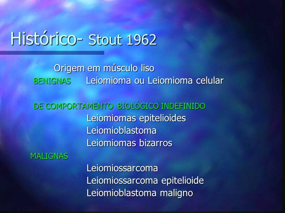 Histórico- Stout 1962 Origem em músculo liso Origem em músculo liso BENIGNAS Leiomioma ou Leiomioma celular BENIGNAS Leiomioma ou Leiomioma celular DE COMPORTAMENTO BIOLÓGICO INDEFINIDO DE COMPORTAMENTO BIOLÓGICO INDEFINIDO Leiomiomas epitelioides Leiomiomas epitelioides Leiomioblastoma Leiomioblastoma Leiomiomas bizarros Leiomiomas bizarros MALIGNAS MALIGNAS Leiomiossarcoma Leiomiossarcoma Leiomiossarcoma epitelioide Leiomiossarcoma epitelioide Leiomioblastoma maligno Leiomioblastoma maligno
