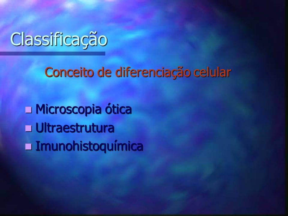 Classificação Conceito de diferenciação celular Conceito de diferenciação celular Microscopia ótica Microscopia ótica Ultraestrutura Ultraestrutura Imunohistoquímica Imunohistoquímica