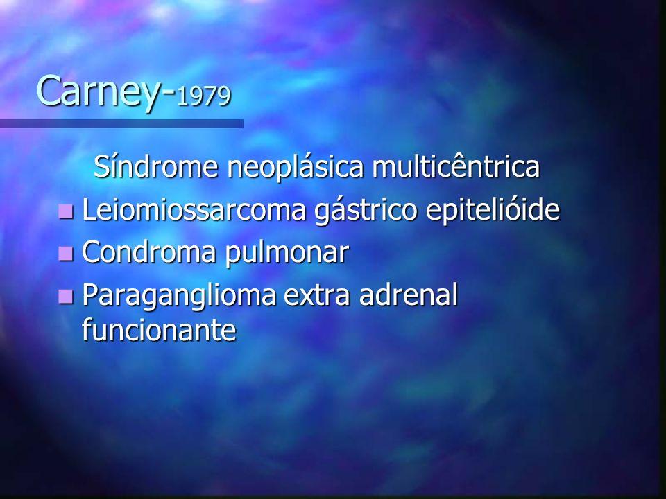 Carney- 1979 Carney- 1979 Síndrome neoplásica multicêntrica Síndrome neoplásica multicêntrica Leiomiossarcoma gástrico epitelióide Leiomiossarcoma gástrico epitelióide Condroma pulmonar Condroma pulmonar Paraganglioma extra adrenal funcionante Paraganglioma extra adrenal funcionante