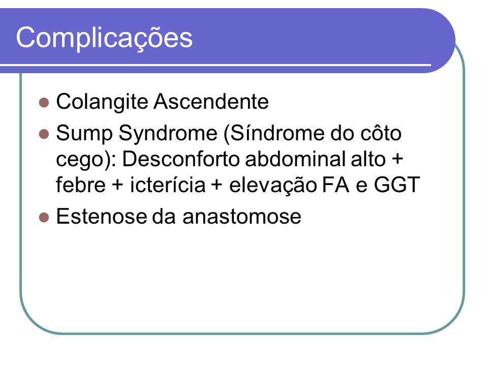 Complicações Colangite Ascendente Sump Syndrome (Síndrome do côto cego): Desconforto abdominal alto + febre + icterícia + elevação FA e GGT Estenose d