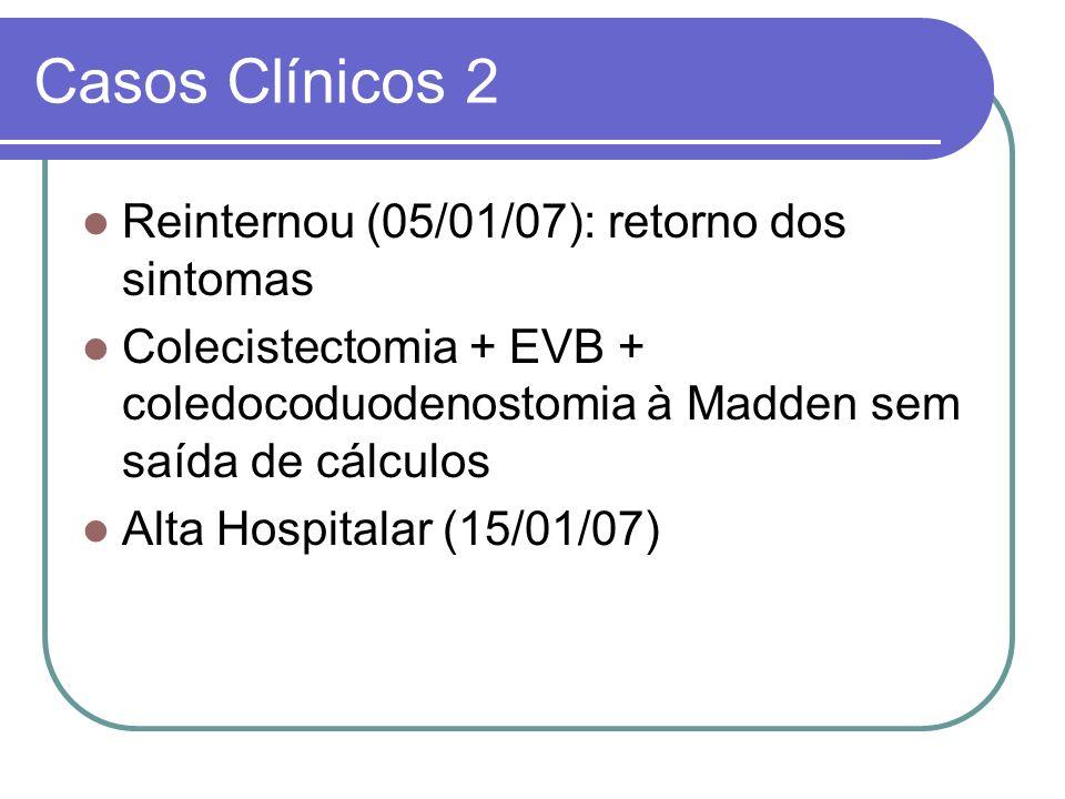Casos Clínicos 2 Reinternou (05/01/07): retorno dos sintomas Colecistectomia + EVB + coledocoduodenostomia à Madden sem saída de cálculos Alta Hospita