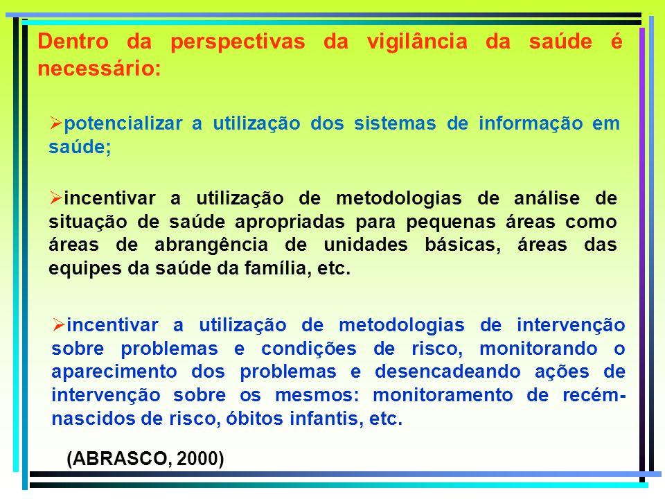 Dentro da perspectivas da vigilância da saúde é necessário: potencializar a utilização dos sistemas de informação em saúde; incentivar a utilização de