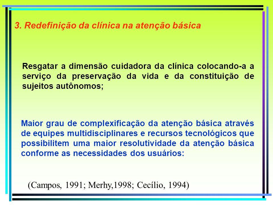 Resgatar a dimensão cuidadora da clínica colocando-a a serviço da preservação da vida e da constituição de sujeitos autônomos; 3. Redefinição da clíni