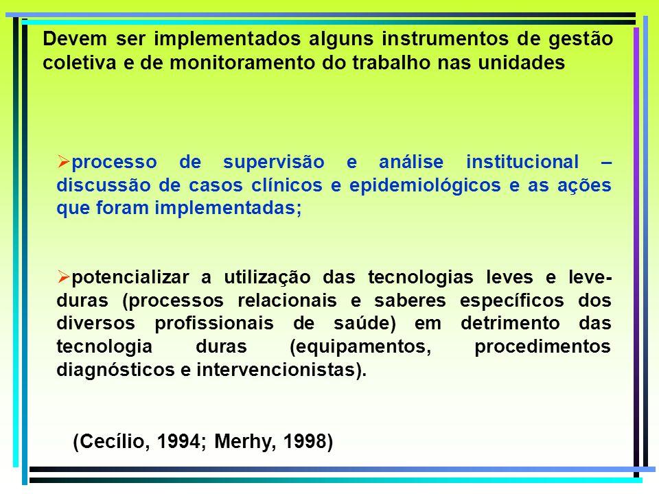 Devem ser implementados alguns instrumentos de gestão coletiva e de monitoramento do trabalho nas unidades processo de supervisão e análise institucio