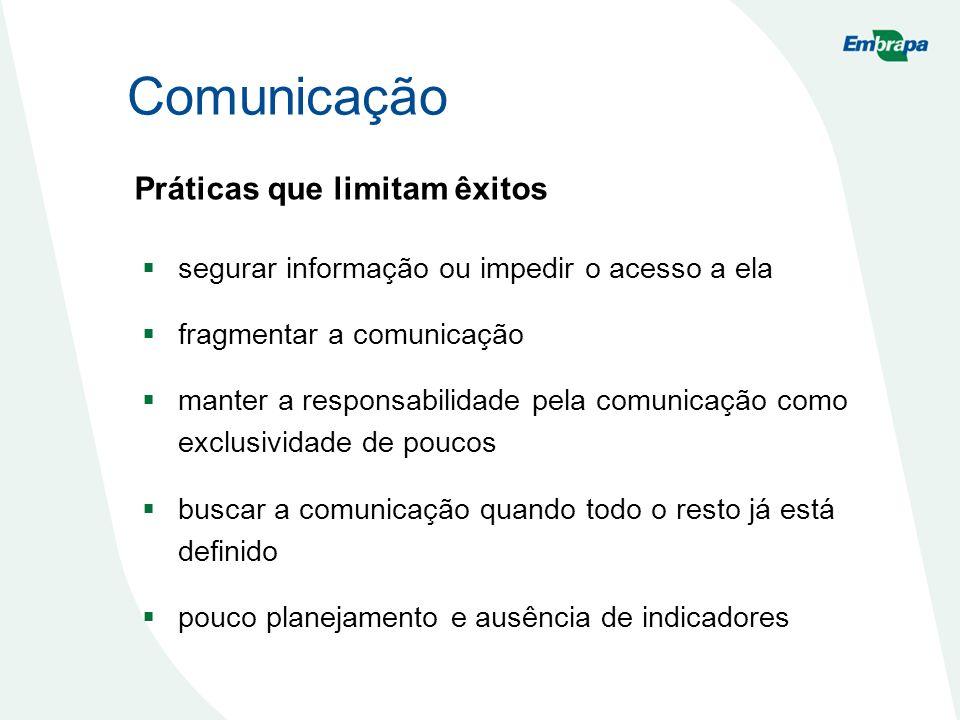Comunicação Práticas que limitam êxitos segurar informação ou impedir o acesso a ela fragmentar a comunicação manter a responsabilidade pela comunicaç