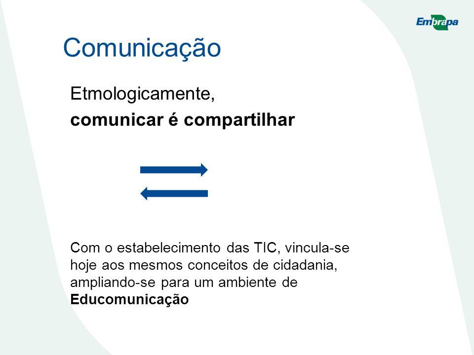Comunicação Etmologicamente, comunicar é compartilhar Com o estabelecimento das TIC, vincula-se hoje aos mesmos conceitos de cidadania, ampliando-se p