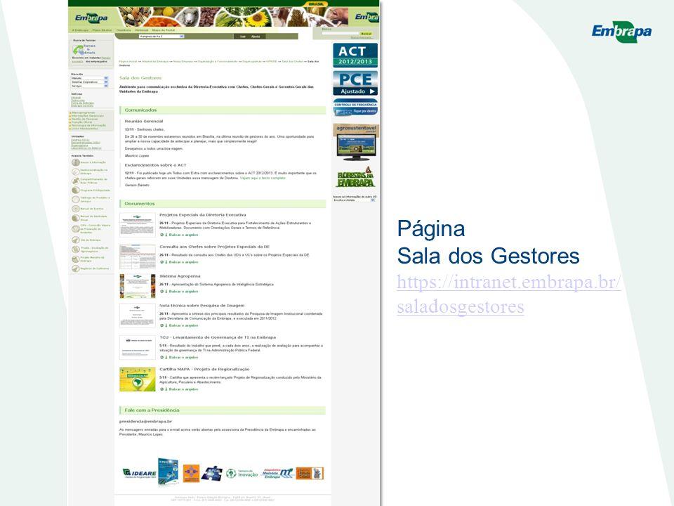 Página Sala dos Gestores https://intranet.embrapa.br/ saladosgestores