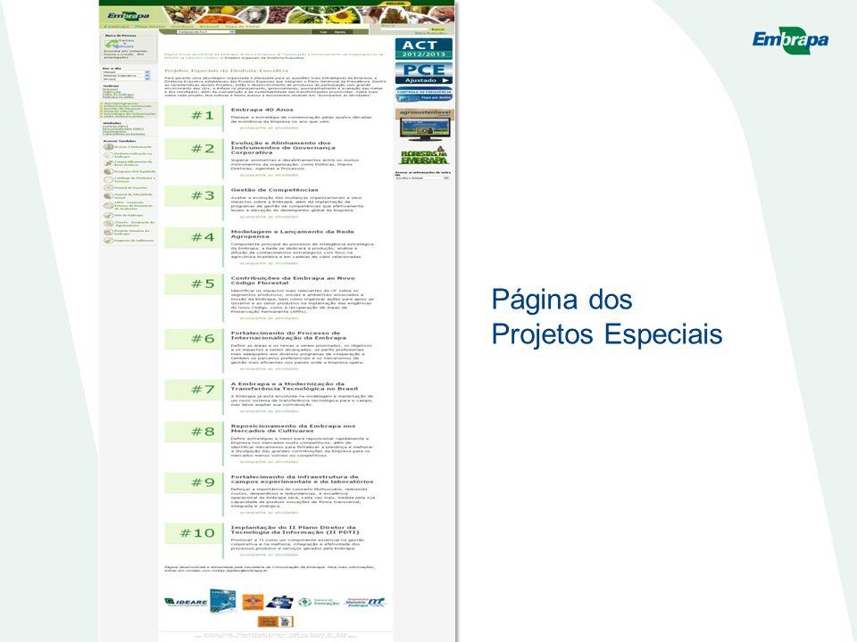 Página dos Projetos Especiais
