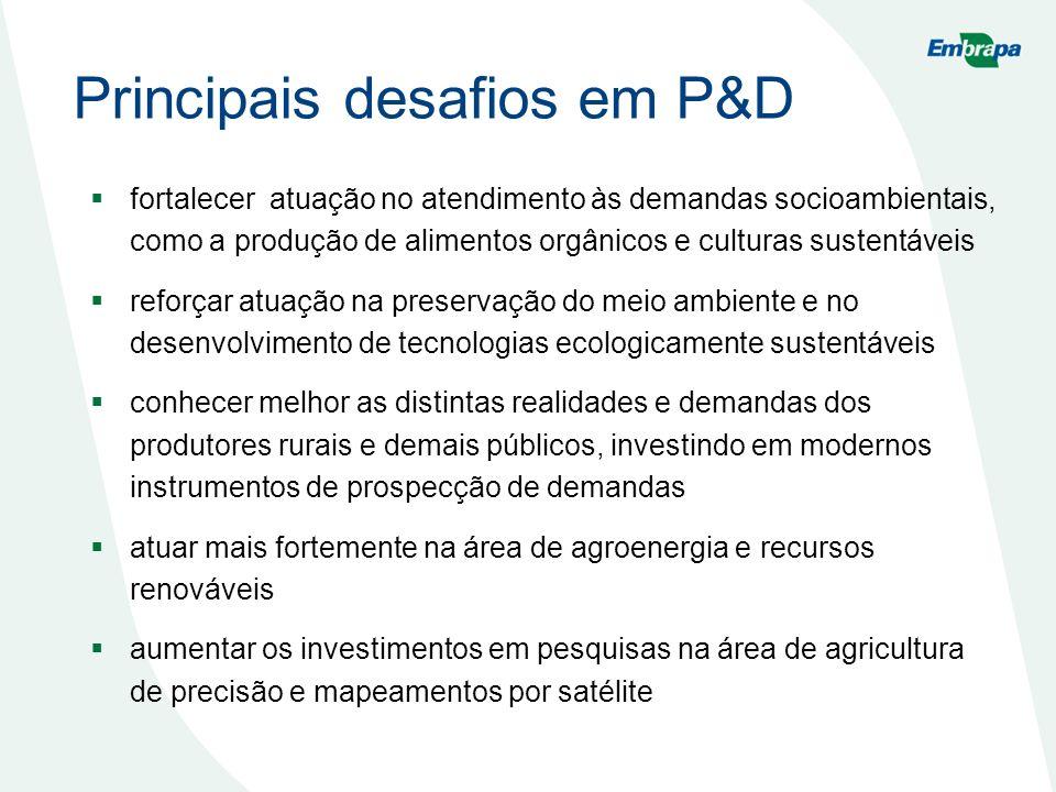 Principais desafios em P&D fortalecer atuação no atendimento às demandas socioambientais, como a produção de alimentos orgânicos e culturas sustentáve