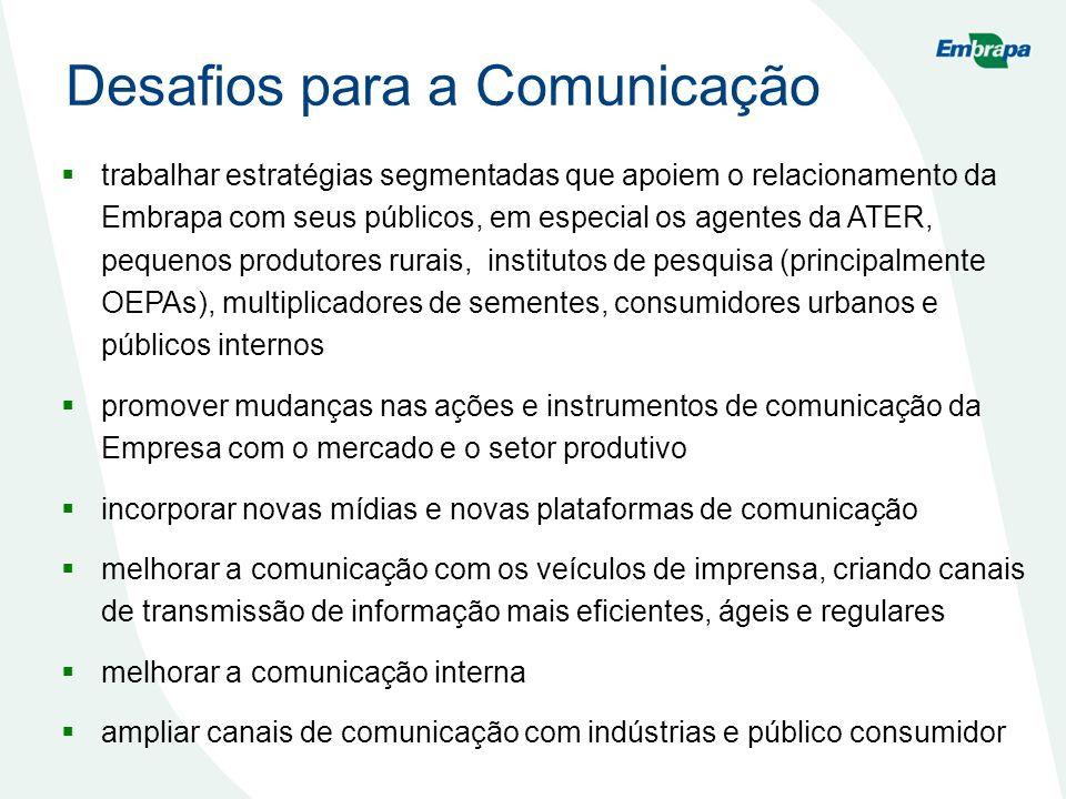 Desafios para a Comunicação trabalhar estratégias segmentadas que apoiem o relacionamento da Embrapa com seus públicos, em especial os agentes da ATER