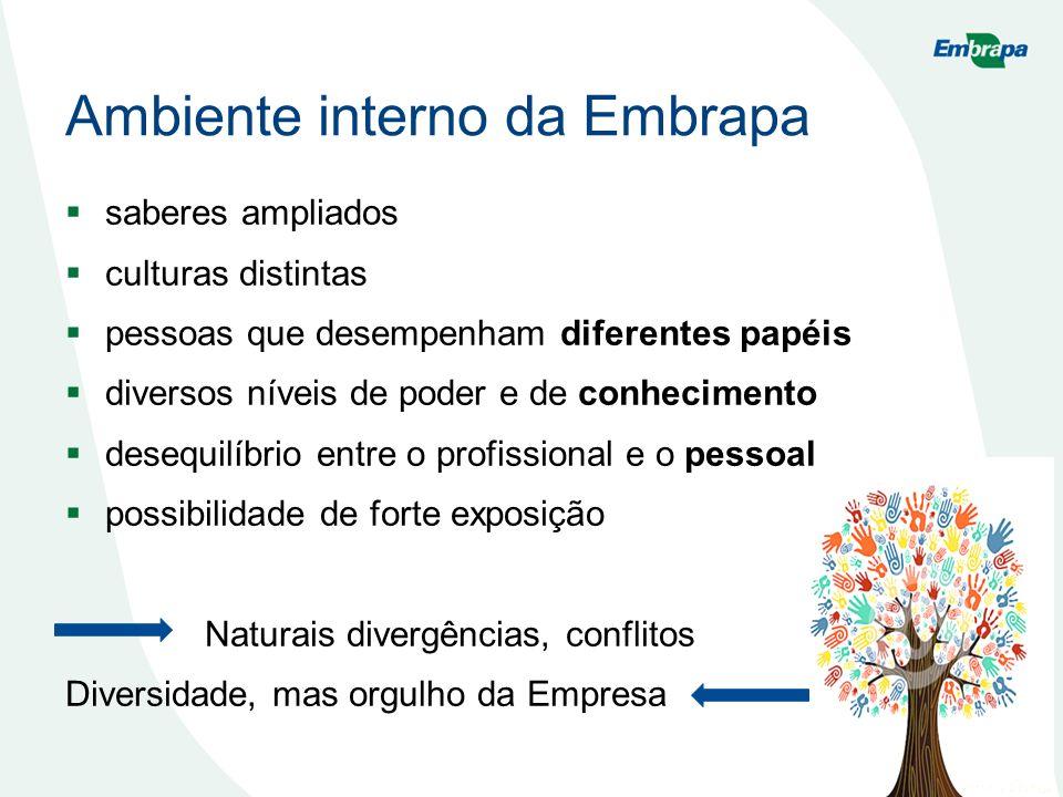 Ambiente interno da Embrapa saberes ampliados culturas distintas pessoas que desempenham diferentes papéis diversos níveis de poder e de conhecimento