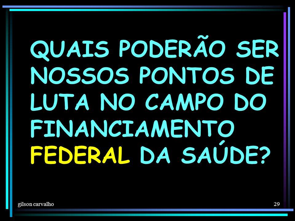 gilson carvalho 29 QUAIS PODERÃO SER NOSSOS PONTOS DE LUTA NO CAMPO DO FINANCIAMENTO FEDERAL DA SAÚDE?