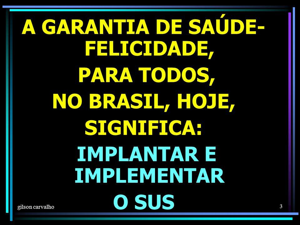gilson carvalho 3 A GARANTIA DE SAÚDE- FELICIDADE, PARA TODOS, NO BRASIL, HOJE, SIGNIFICA: IMPLANTAR E IMPLEMENTAR O SUS