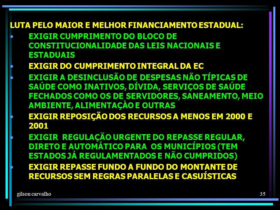 gilson carvalho 35 LUTA PELO MAIOR E MELHOR FINANCIAMENTO ESTADUAL: EXIGIR CUMPRIMENTO DO BLOCO DE CONSTITUCIONALIDADE DAS LEIS NACIONAIS E ESTADUAIS EXIGIR DO CUMPRIMENTO INTEGRAL DA EC EXIGIR A DESINCLUSÃO DE DESPESAS NÃO TÍPICAS DE SAÚDE COMO INATIVOS, DÍVIDA, SERVIÇOS DE SAÚDE FECHADOS COMO OS DE SERVIDORES, SANEAMENTO, MEIO AMBIENTE, ALIMENTAÇÀO E OUTRAS EXIGIR REPOSIÇÃO DOS RECURSOS A MENOS EM 2000 E 2001 EXIGIR REGULAÇÃO URGENTE DO REPASSE REGULAR, DIRETO E AUTOMÁTICO PARA OS MUNICÍPIOS (TEM ESTADOS JÁ REGULAMENTADOS E NÃO CUMPRIDOS) EXIGIR REPASSE FUNDO A FUNDO DO MONTANTE DE RECURSOS SEM REGRAS PARALELAS E CASUÍSTICAS