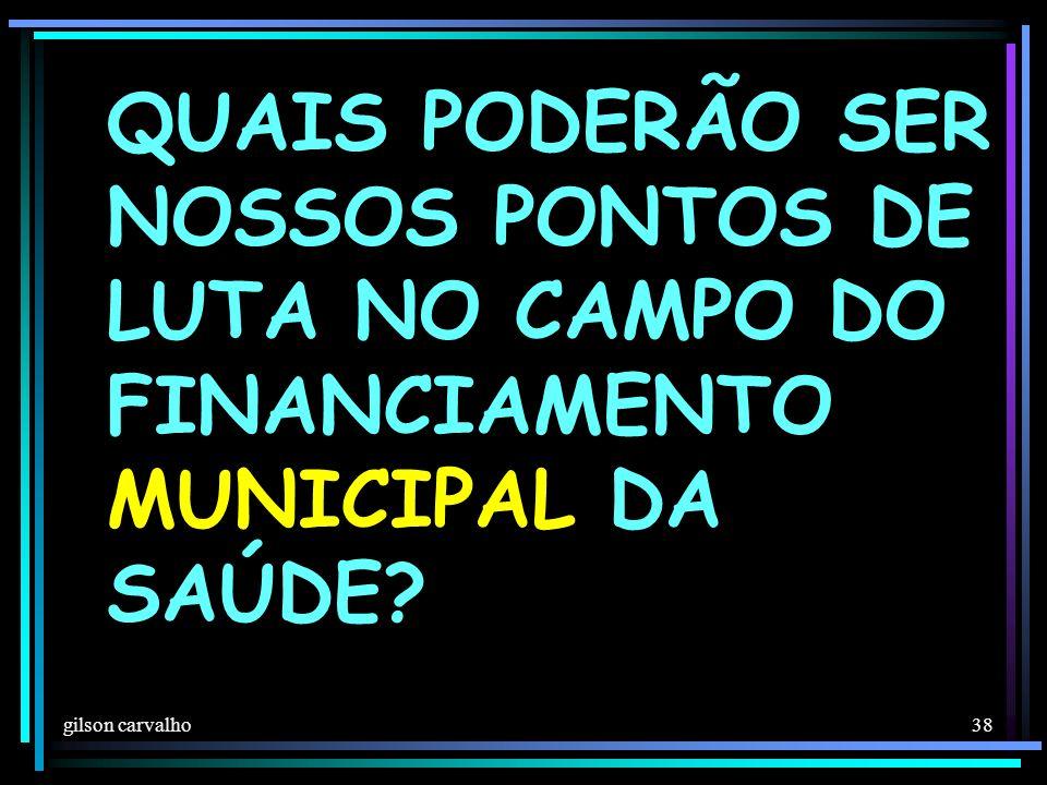 gilson carvalho 38 QUAIS PODERÃO SER NOSSOS PONTOS DE LUTA NO CAMPO DO FINANCIAMENTO MUNICIPAL DA SAÚDE?