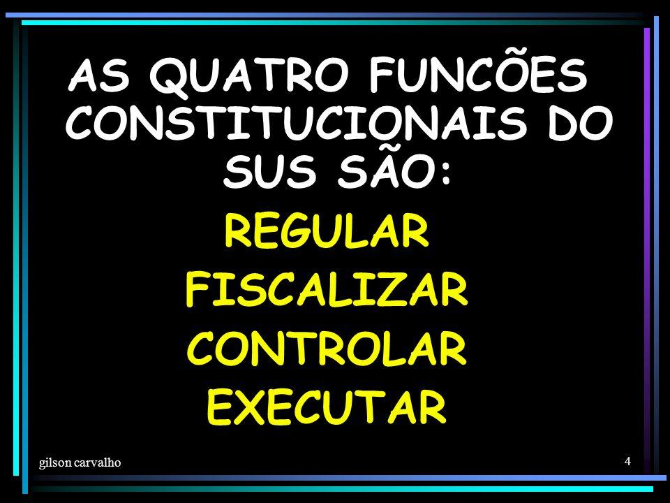 gilson carvalho 4 AS QUATRO FUNCÕES CONSTITUCIONAIS DO SUS SÃO: REGULAR FISCALIZAR CONTROLAR EXECUTAR
