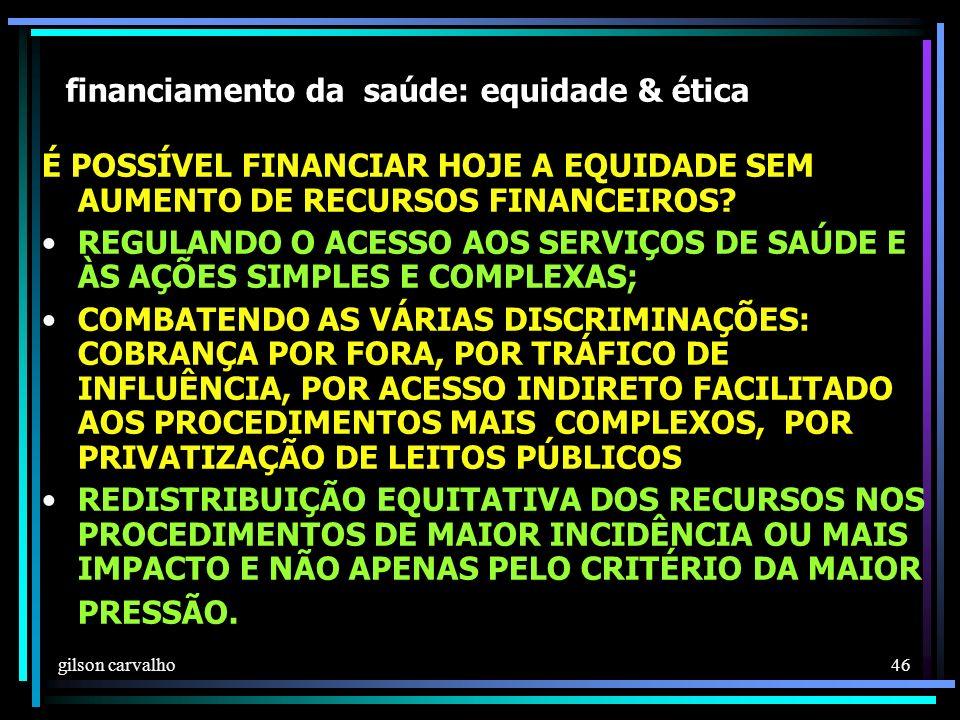 gilson carvalho 46 financiamento da saúde: equidade & ética É POSSÍVEL FINANCIAR HOJE A EQUIDADE SEM AUMENTO DE RECURSOS FINANCEIROS.