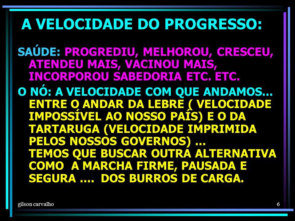 gilson carvalho 6 A VELOCIDADE DO PROGRESSO: SAÚDE: PROGREDIU, MELHOROU, CRESCEU, ATENDEU MAIS, VACINOU MAIS, INCORPOROU SABEDORIA ETC.