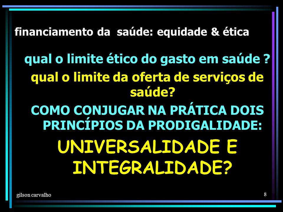 gilson carvalho 8 financiamento da saúde: equidade & ética qual o limite ético do gasto em saúde .