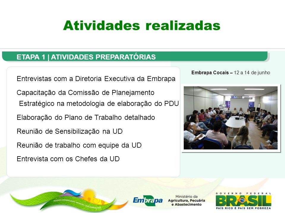 Atividades realizadas Embrapa Cocais – 12 a 14 de junho ETAPA 1 | ATIVIDADES PREPARATÓRIAS Entrevistas com a Diretoria Executiva da Embrapa Capacitaçã