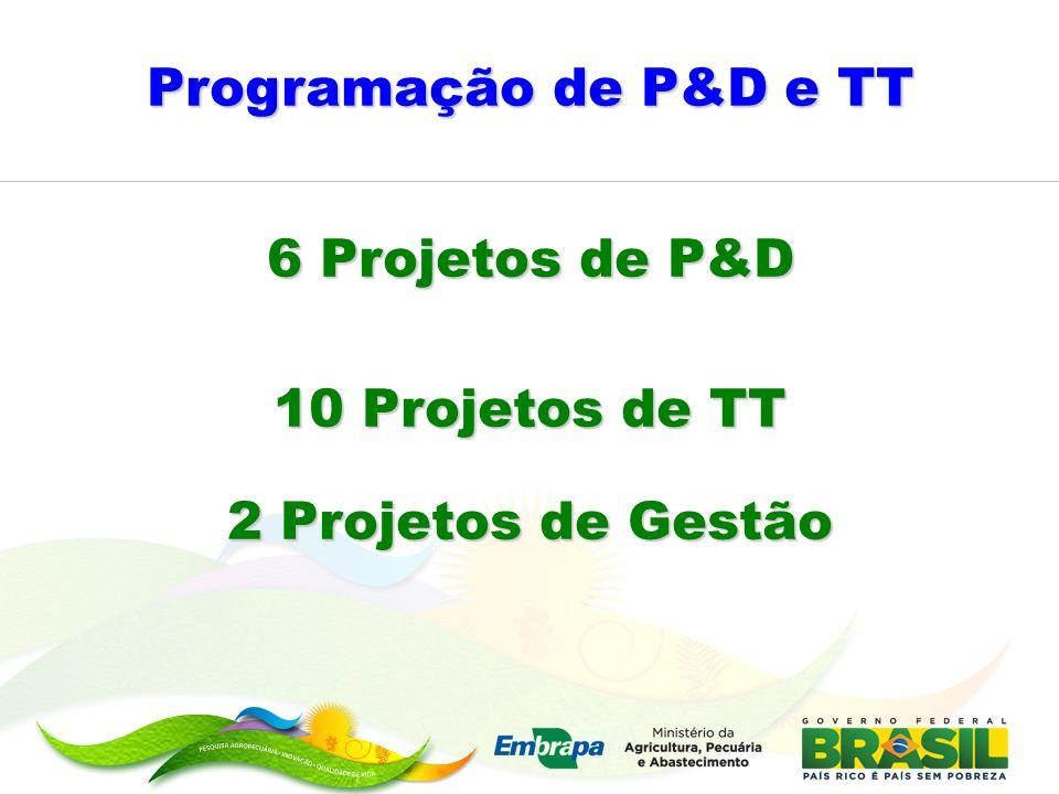 Programação de P&D e TT 6 Projetos de P&D 10 Projetos de TT 2 Projetos de Gestão