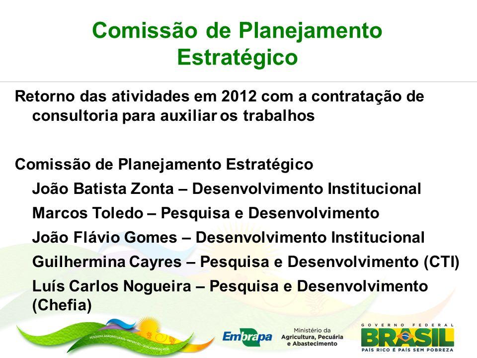 Comissão de Planejamento Estratégico Retorno das atividades em 2012 com a contratação de consultoria para auxiliar os trabalhos Comissão de Planejamen