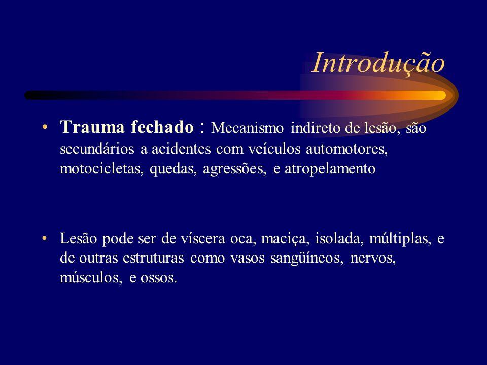 Introdução Trauma fechado : Mecanismo indireto de lesão, são secundários a acidentes com veículos automotores, motocicletas, quedas, agressões, e atro