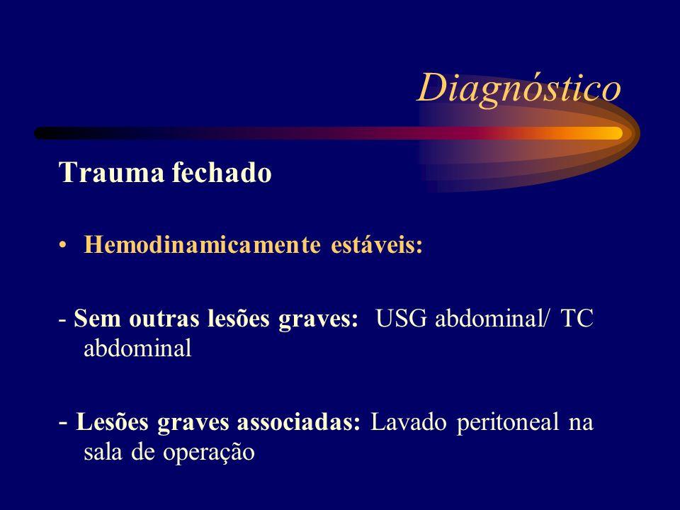 Diagnóstico Trauma fechado Hemodinamicamente estáveis: - Sem outras lesões graves: USG abdominal/ TC abdominal - Lesões graves associadas: Lavado peri